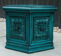 Peacock Blue Side Table. $165.00, via Etsy.