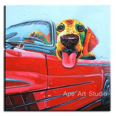 Puppy In The Red Car Dog PaintingDog Oil by ApeArtStudio on Etsy