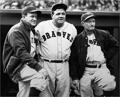 1935 - Red Sox shortstop Joe Cronin stood with Boston Braves outfielder Babe Ruth manager Bill McKechnie