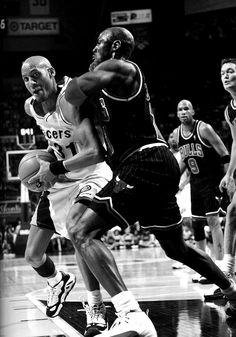 Reggie Miller (Indiana Pacers) and Michael Jordan