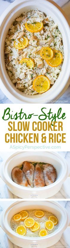 Easy and Amazing Bistro Slow Cooker Chicken and Rice on ASpicyPerspective.com