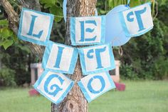 Shabby Chic Frozen Inspired Fabric Burlap Bunting Banner Birthday Party Decor Decoration Photo Prop Let it Go Queen Elsa Dress Up  Anna Olaf