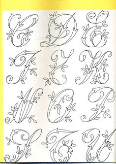 Gallery.ru / Фото #281 - Монограммы - Orlanda Tambour Embroidery, Embroidery Letters, Hand Embroidery Designs, Ribbon Embroidery, Embroidery Art, Embroidery Stitches, Machine Embroidery, Hand Lettering Fonts, Doodle Lettering