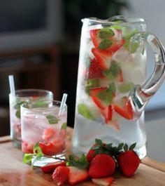 Strawberry Mint Spritzer -    1 bottle Sake – any kind will do  1 bottle Champagne  1 pint strawberries  6 meyer lemons  3-4 springs of mint  Vanilla Stevia