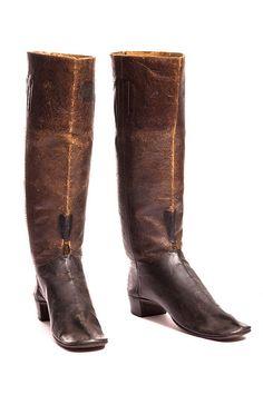 Men's boots, c. 1850. Made by Jacob Steiber (1829-1910), Charleston cobbler on Broad Street. Charleston Museum
