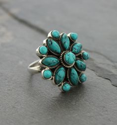 """Turquoise Lotus Ring -size 6- Dharmashop.com  Use code """"SUMMER14"""" to save 20% on all items from Darmhashop."""