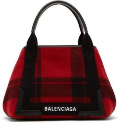 91968967121458 Balenciaga - Cabas S Plaid Bag - Womens - Black Red