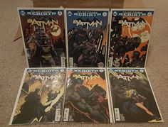 This is the first 6 issues of Batman from the DC Comics Rebirth event. Each issue is a first printing, has only been read once, and comes bagged and b... #batman #rebirth #comics
