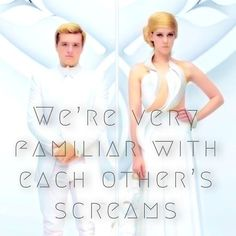 """Peeta and I had adjoining cells in the Capitol. We're very familiar with each other's screams.mockingjay is going to rip my heart out. Hunger Games Pin, Hunger Games Fandom, Hunger Games Humor, Hunger Games Catching Fire, Hunger Games Trilogy, Katniss And Peeta, Katniss Everdeen, I Volunteer As Tribute, Johanna Mason"