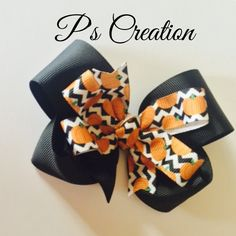 RTS halloween inspired pumpkin and chevron boutique stacked hairbow by PsCreation on Etsy