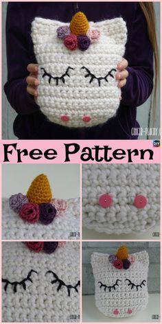 Cute Crochet Unicorn Pillow - Free Patterns #freepattern #unicorn