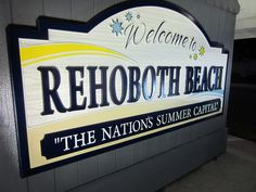 Rehoboth Beach, Delaware - Welcome Sign - Lantern Press Photography Giclee Art Print, Gallery Framed, Black Wood), Multi Rehoboth Beach Delaware, Delaware Usa, Lewes Delaware, Best Vacations, Metal Signs, Art Prints, Summer, Lantern, Dewey Beach