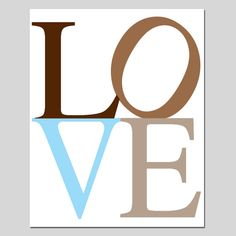 LOVE  8 x 10 Modern Typography Print  Gray Blue Taupe by Tessyla, $20.00