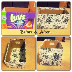 I used a luv diaper box and turned it into a storage box. Using floral contact paper from the Dollar Tree! Craft Paper Storage, Diy Storage Boxes, Storage Area, Nursery Storage, Nursery Organization, Baby Storage, Organization Ideas, Organizing, Diy Apartment Decor