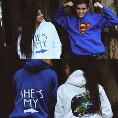 couple hoodies Sweater: jumper jacket blue white sweatshirt superman hoodie couple s Cut Up Shirts, Cheer Shirts, Party Shirts, Tie Dye Shirts, T Shirts, Matching Hoodies For Couples, Matching Couple Outfits, Boyfriend And Girlfriend Hoodies, Funny Boyfriend
