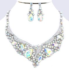 Aurora Borealis AB Crystal Rhinestone Teardrop Empress Formal Evening Bridal Wedding Silver Necklace Set Elegant Costume Jewelry
