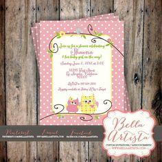 Owls Baby Shower Invite Birthday Party Invitation Pink, Photo Card   BellaArtista - Digital Art  on ArtFire