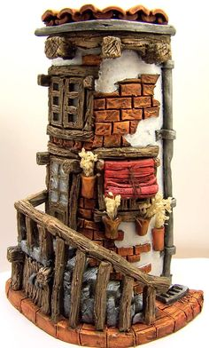 Rustic fairy house hand decorated by tiles Clay Houses, Ceramic Houses, Miniature Houses, Clay Fairy House, Fairy Houses, Clay Projects, Clay Crafts, Kobold, Clay Fairies