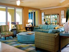 Tropical Living Rooms Design Present Bright Colors And Bring A Beach Atmosphere In Your Home
