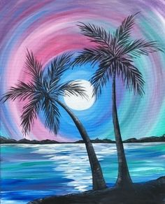 Rainbow Palm Island. Paint Nite