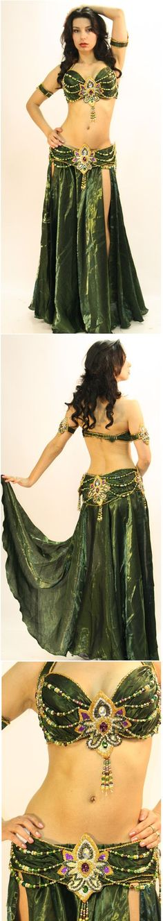Green belly dance top, belt and skirt Belly Dancer Costumes, Belly Dancers, Dance Costumes, Dance Outfits, Dance Dresses, Dance Oriental, Belly Dance Outfit, Tribal Belly Dance, Beautiful Costumes