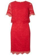 Womens Petite Red Lace Pencil Dress- Red