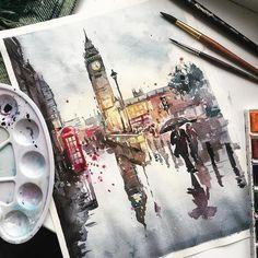1,503 отметок «Нравится», 12 комментариев — TimeToArt (@timetoart.ru) в Instagram: «'Rainy London' watercolor by Victoria Genisetskaya @bukavik, Russia. 'Дождливый Лондон' акварель…»