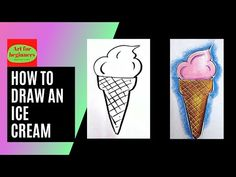 Drawing Videos For Kids, Drawing For Beginners, Beginner Art, Art Drawings, The Creator, Ice Cream, Easy, No Churn Ice Cream, Icecream Craft