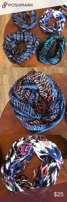 (NWOT) 4 brand new infinity scarfs from Zumiez! Four brand new printed infinity scarfs from Zumiez! You can either buy one our all four! 30 for four or 7 for one! (Numbers are negotiable) Accessories Scarves & Wraps
