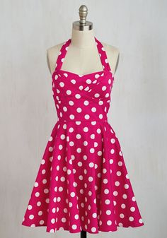 Traveling Cake Pop Truck Dress in Pink - Woven, Pink, White, Polka Dots, Print, Pockets, Daytime Party, Pinup, Vintage Inspired, 50s, Fit & Flare, Sleeveless, Better, Variation, Colorsplash, Spring, Valentine's
