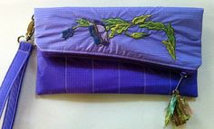 Recycled Paraglider Womans Clutch Purse Purples by OffChutes,