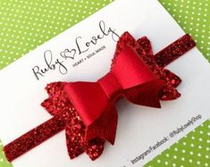 Red Glitter Bow Red Valentines Headband Baby Red by RubyLovelyShop Red Hair Bow, Diy Hair Bows, Diy Bow, Baby Bows, Baby Headbands, Red Headband, Christmas Bows, Red Glitter, Boutique Hair Bows