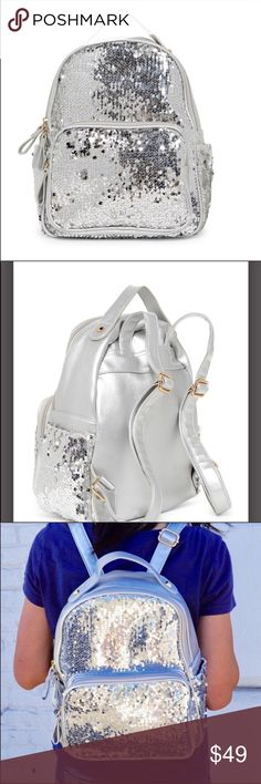 Pink Haley Silver Sequin Backpack New With Tags New With Tags Pink Haley Bags Backpacks