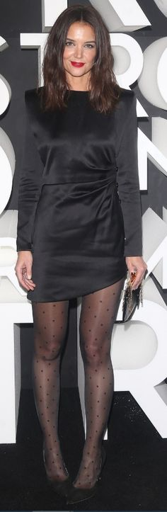 Katie Holmes perfects the little black dress in sexy chic look at Nordstrom flagship opening in NYC Black Suit Jacket, Satin Bomber Jacket, Black Satin Mini Dress, Grey Tweed Blazer, Black Bandeau, Perfect Little Black Dress, Black Suede Pumps, Black Skinnies, Black Tights