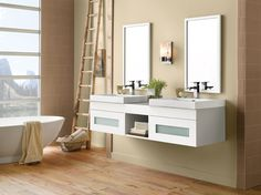 Simple and clean Rebecca bathroom vanity from the Wall-hung collection