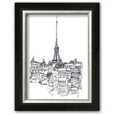 Art.com ''Eiffel Tower'' Framed Art Print By Avery Tillmon (White) ($60) ❤ liked on Polyvore featuring home, home decor, wall art, white, wall street art, eiffel tower wall art, parisian home decor, black and white home decor and paris home decor