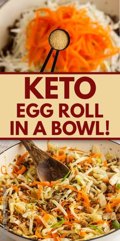 This keto egg roll recipe makes an amazing keto dinner, keto lunch, or keto meal prep option! Instead of 22g net carbs for a single egg roll, you can eat a whole serving of this low carb recipe for only 3g net carbs. Serve this high fat low carb meal idea whenever the craving for keto takeout strikes! It's a great healthy takeout recipe. Low Carb Meal Plan, Low Carb Dinner Recipes, Keto Dinner, Lunch Recipes, Diet Recipes, Keto Takeout, Chicken Alfredo Casserole, Egg Roll Recipes, Lunch Meal Prep