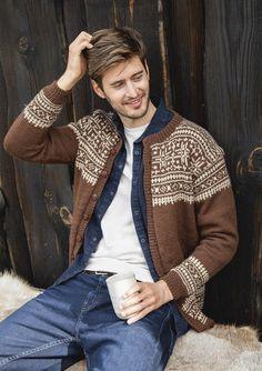 Theme 59 - No. 3 - Cardigan for men w/set in sleeves, knitted in Peer Gynt Knit World, Sweater Design, Blue Mountain, Wool Sweaters, Cardigans For Women, Knitting Yarn, Knitwear, Knitting Patterns, Men Sweater