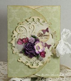 Gorgeous Green Three Fold Card...Anne's paper fun...Wild Orchid Challenge.
