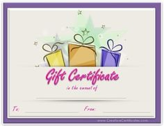 Gift Certificate Template With Gold Stripes At The Bottom And Blue