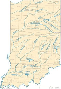Map of State of Indiana with its cities counties and road map