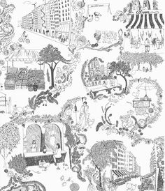 Flat Vernacular recently completed work on a custom toile wallpaper for the Chelsea restaurant Alison 18.