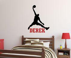 Basketball Wall Decal: Jumpman Decal - Boys Room Name Decor