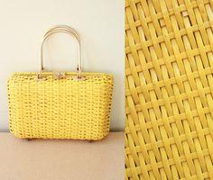 Vintage  60s  Mod  Bright Yellow  Vinyl  Basket by starlingdarlin