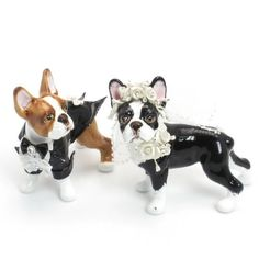 Boston Terrier Wedding Cake Topper C00001 Ceramic Hand Painted Wedding Decor Figurine Statue Table Reception Decoration ← PawSitively American Boston Terrier