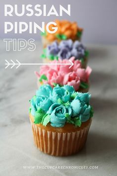 A guide to Russian piping tips! Click through to read all about our experience with them! Russian Cake Decorating, Cupcake Decorating Tips, Cookie Decorating, Cupcake Ideas, Frosting Techniques, Frosting Tips, Frosting Recipes, Cupcake Icing, Baking Cupcakes