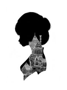 """Little Houses Silhouette"" Limited Edition Charmaine Olivia Print House Silhouette, Silhouette Art, Silhouette Portrait, Illustrations, Illustration Art, Pearl Jam, Little Houses, Akita, Art Lessons"