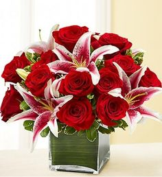 She's always looking for the latest styles and hottest fashion trends. Send this truly original, contemporary bouquet of gorgeous red roses and elegant lilies, hand-arranged in a stylish glass cube vase. 800 Flowers, Pretty Flowers, Fresh Flowers, Send Flowers, Rosen Arrangements, Floral Arrangements, Send Roses, Rose Lily, Valentines Flowers
