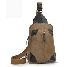 Backpacks one strap, khaki canvas cool backpack