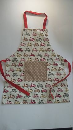 Kids Apron, childs Apron, Retro Cotton Fabric with Kam Snap fastening at neck and tie back by sweetpeaandblue on Etsy Retro Scooter, Messy Play, Kids Apron, Tie Backs, 6 Years, Cotton Fabric, Colours, Beige